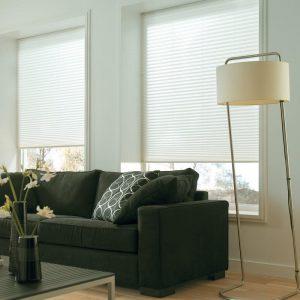 Få god kontroll på innsyn og solskjerming i stuen med plisségardiner.