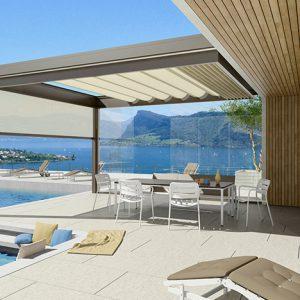 Eksklusiv Pergola fra Kjells markiser tilrettelegger for den elegante og luksuriøse uteplassen man trenger om sommeren.
